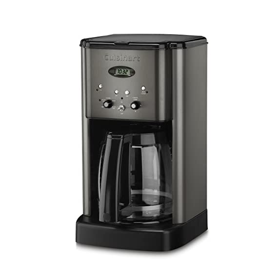 Cuisinart DCC-1200BKS 12 Cup Brew Central Coffee Maker, Black Stainless Steel 3 Classic stainless design 12 Cup carafe with ergonomic handle, dripless spout and knuckle guard Brew Pause feature lets you enjoy a cup of Coffee before brewing has finished Adjustable heater plate (low, medium, high) ensures that your Coffee stays at the temperature you like best