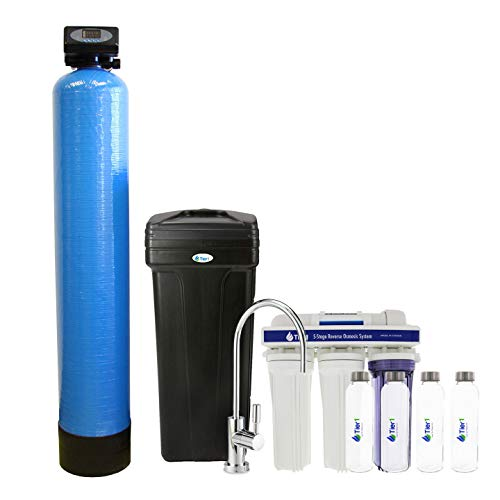 Tier1 Essential Series 48,000 Grain Water Softener with Under Sink Reverse Osmosis System + Glass Water Bottles