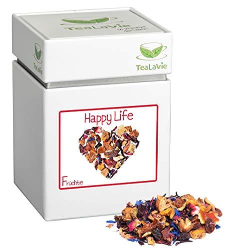 TEALAVIE - Früchtetee lose   Happy Life - tropische Ananas mit Erdbeere und Aprikose   warm & kalt   100g Dose loser Früchte Tee