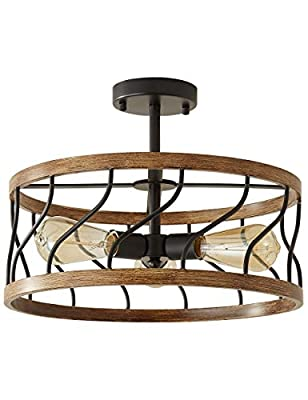 Biewalk Rustic Lighting Black Pendant Light Modern Semi Flush Mount Ceiling Light Fixture Faux Wood Industrial Retro Farmhouse Light Fixture For Dining, Living Room, Bedroom, Kitchen,Hallway,Farmhouse