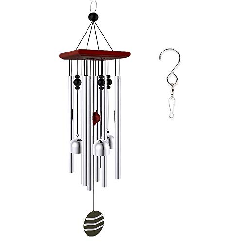 """OCACA Wind Chimes, Tuned 21"""" Wood Windchimes with 8 Aluminum Tubes and 4 Bells, Soothing Musical Melodic Tones, Birthday Gift Idea or Decoration for Outdoor, Patio, Garden, Indoor."""