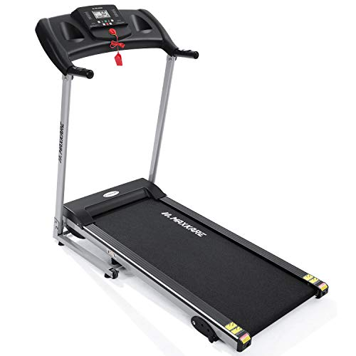 """MaxKare Electric Treadmill Foldable 17"""" Wide Running Machine 3 Levels Manual Incline 1.5 HP Power 12 Preset Program Easy Assembly Max Speed 7.5MPH with Large Display & Cup Holder for Home Use"""