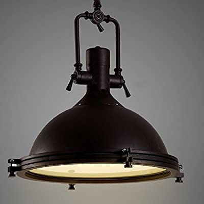 """Industrial Nautical Pendant Light-LITFAD 16"""" Wide Single Pendant with Frosted Diffuser Mounted Fixture LED Ceiling Hanging Light in Black"""