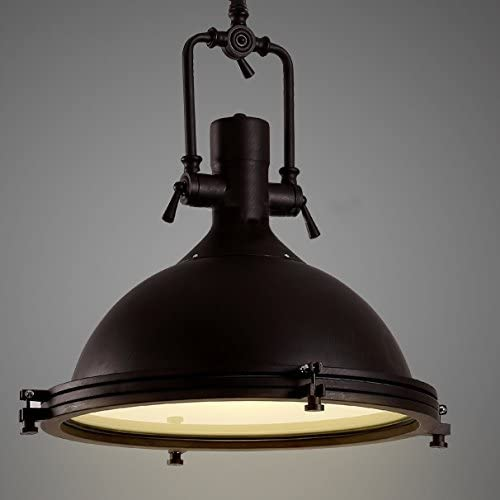 Industrial Nautical Pendant Light-LITFAD 16″ Wide Single Pendant with Frosted Diffuser Mounted Fixture in Black