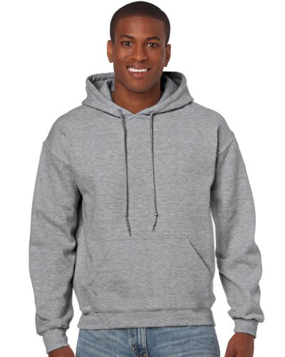 Gildan Herren Adult 50/50 Cotton/Poly. Hooded Sweat Sweatshirt, Grau (Sport Grey), Medium (Herstellergröße: M)