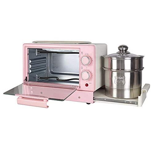 HYCy Máquina de Desayuno Multifuncional para el hogar Cuatro en uno, tostadora eléctrica para Horno Mini sándwich, Horno para Pizza Gourmet, Mini Horno eléctrico, Temperatura Ajustable