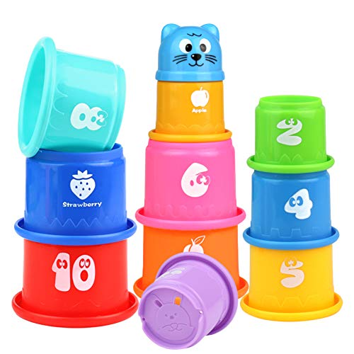 Pilego Juguetes de baño para niños – Vasos apilables flotantes juguete 10 tazas plegables arco iris educativo de playa juguete de agua para bebés y niños
