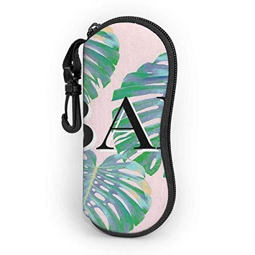 Funda para gafas de sol con gancho de carabiner, bolsa de gafas portátil, bolsa de gafas de sol, funda de gafas de sol, estilo tropical familiar, diseño creativo, funda de gafas de sol con cremallera