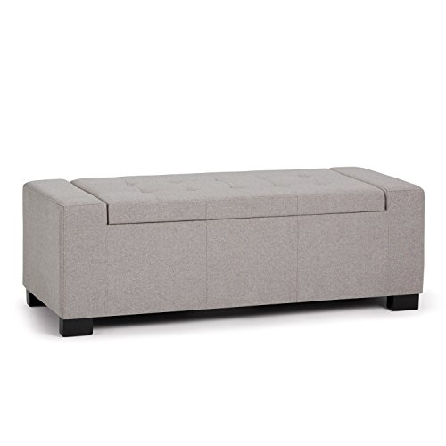 Simpli Home Laredo 51 inch Wide Rectangle Lift Top  Storage Ottoman in Upholstered Cloud Grey Tufted Linen Look Fabric with Large Storage Space for the Living Room, Entryway, Bedroom, Contemporary Black Durable Vinyl Storage Ottoman