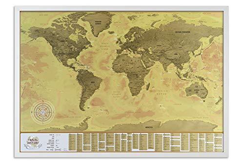 Mappa del Mondo da Grattare con Cornice, Grande Mappa da Viaggio da Grattare, 86 x 60cm, Regalo Originale per la Famiglia, Mappa di Viaggio e Avventure Personali, Mappa Personalizzata, Cornice bianca