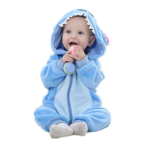 Cute Cartoon Baby Pajama Set Novelty Cotton Baby Rompers boy Girl Animal Rompers Stitch Baby's Sets (6-12 Months, Blue)