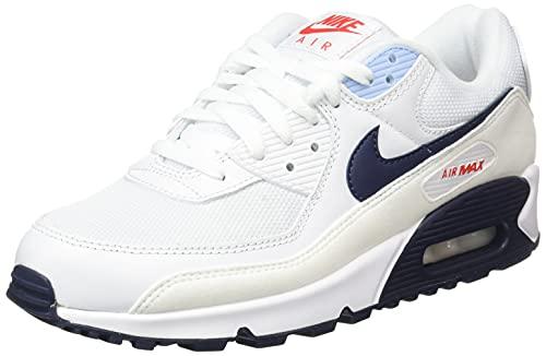 Nike Herren Air Max 90 Gymnastikschuh, Weiß White Chile Red Psychic Blue Midnight Navy, 43 EU