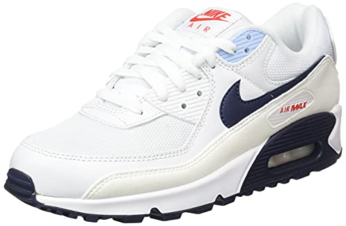 Nike Air Max 90, Scarpe da Ginnastica Uomo, White/Chile Red/Psychic Blue/Midnight Navy, 41 EU