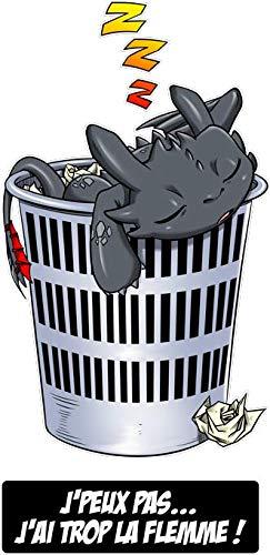 Okiwoki T-Shirt Noir Dragons parodique Krokmou la Furie Nocturne : J'peux Pas. J'Ai trop la flemme ! (Parodie Dragons)
