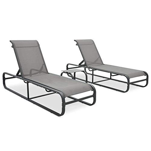 MWPO Tumbonas para jardín 2 Piezas con Mesa de té, sillas de jardín reclinables Ajustables, para Tomar el Sol, Relax, Textil y Aluminio, Gris 200 x 65 x 36 cm