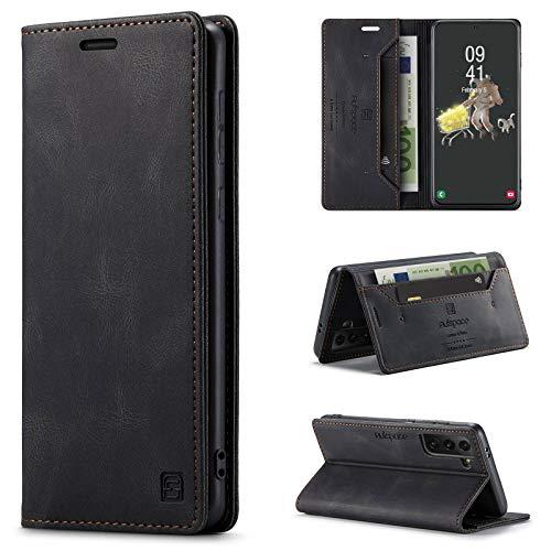 uslion Funda para Samsung Galaxy S21 RFID, funda protectora para teléfono móvil, tarjetero, billetera, cierre magnético, funda de piel para Samsung Galaxy S21, color negro