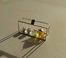 Pendentif ambre en argent massif, bijou motif bouilloire et tasse, pendentif sans la chaîne fournie