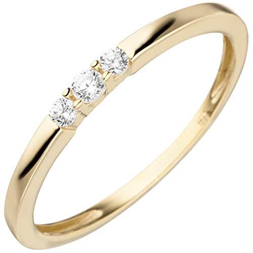 JOBO Damen Ring schmal 333 Gold Gelbgold 3 Zirkonia Goldring Größe 50