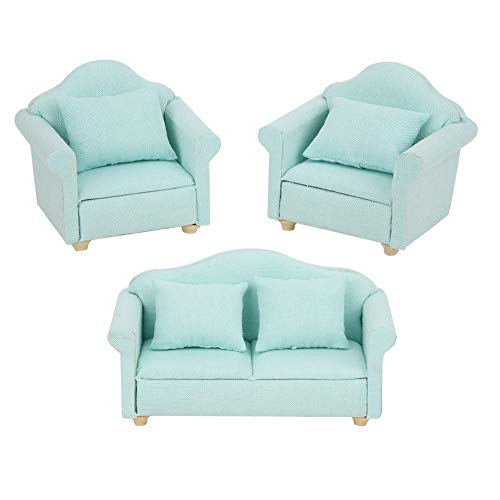 Zerodis 3Pcs Dollhouse Sofa Miniature Armchair 1:12 Mini Doll House Plaid Sofa Cojín Set Accesorio Habitación Muebles Juguete de Regalo para niñas(Verde)