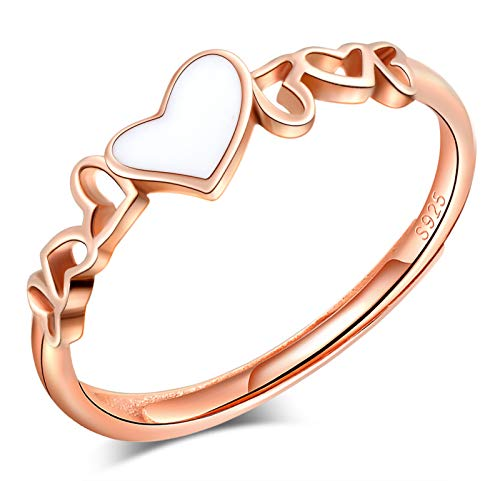 CPSLOVE Anillo de mujer niña, anillo de plata de ley 925, Anillos de corazón, anillo abierto, tamaño ajustable, anillo de bodas, anillo de compromiso, Circunferencia de dedo adecuada:48,5-57mm