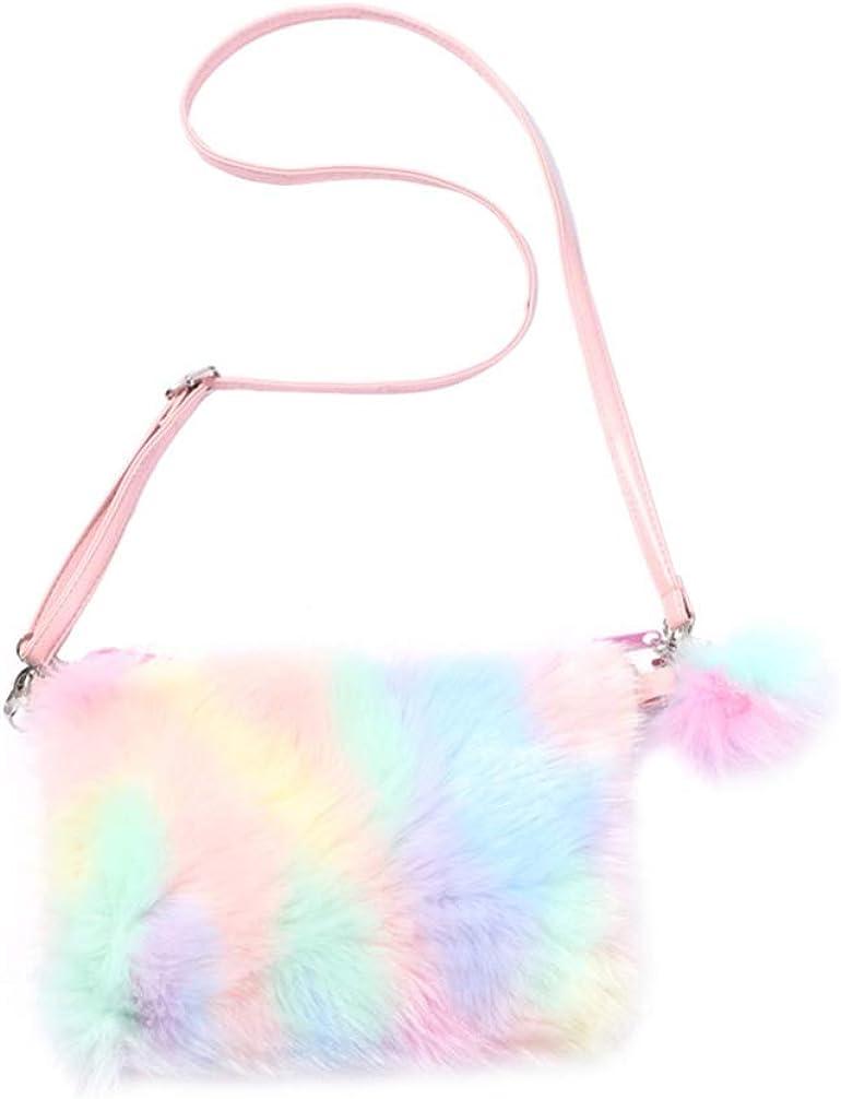 VALICLUD Crossbody Clutch Wallet Purse Evening Handbag Faux Fur Purse Cell Phone Bag Rainbow Purse for Women Girls
