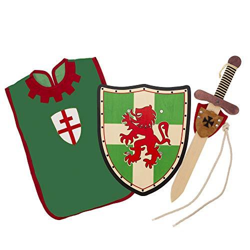 Txkkids Espada y Escudo para Niños de Madera, Caballero Medieval Templario,Incluye Colgador y Peto,Armas de Juguete para Niños..