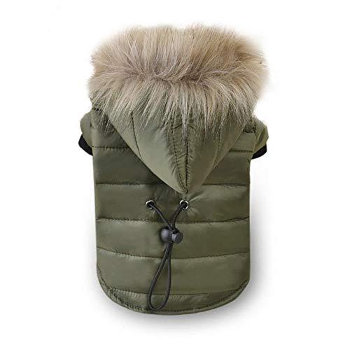 Xinger Winter Warm Katoen Winddicht Hondenjas Bont Bont Puppy Outfits Voor Honden Winterkleding Huisdieren Kleding, 01 legergroen, M