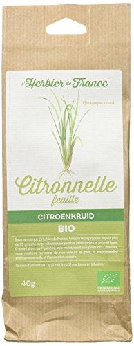 L'Herbier de France Citronnelle Feuilles Bio Sachet, Kraft, 40.0 gramme