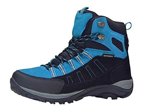 riemot Botas de Senderismo y Campo para Mujer Hombre, Zapatillas Altas de Trekking Zapatos de Montaña Escalada Aire Libre Calzado Impermeable Ligero Antideslizantes Sneakers, Azul Negro EU 41