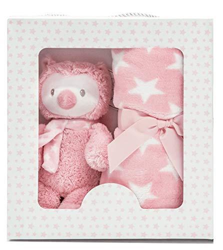 Baby Geschenk Set mit Kuscheldecke und Eule Plüschtier rosa