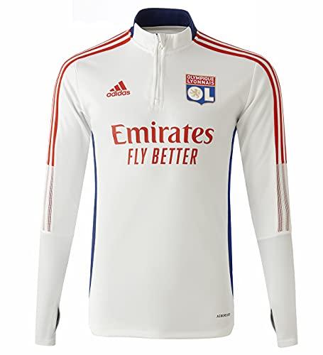 adidas OLlympique Lyon 2021-2022, Felpa, White Tint/Victory Blue, Taglia XL