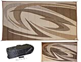 EEZ RV PRODUCTS 9x12b Reversible/Durable Outdoor Patio/RV Mats - Perfect for Camping, Beach, Picnic in The Park - (9ft. x 12ft., Brown)