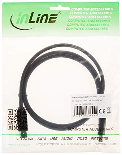 InLine 34001 - Cable FireWire (400 Mbit/s, Negro, Digital camcorders, DVDs)