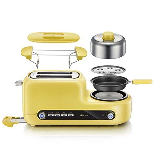 Toast and Egg Two Slice Toaster and Egg Maker, croissants rôtis Omelette petit déjeuner Entièrement automatique 6 fois la température 1080 W - Jaune Multifonctions