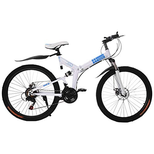 XESRT 26 Inch Mountain Bike 21 Speed Folding Portable City Bicycle with Full Suspension Double Disc Brakes for Adult