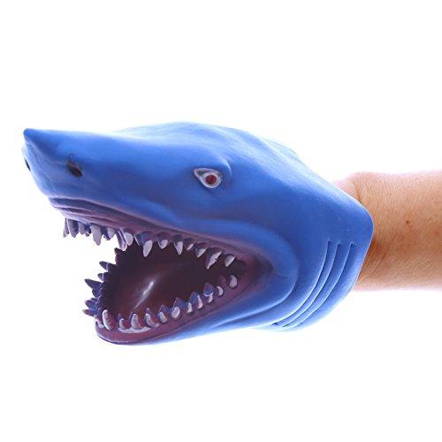 Handpuppe HAI aus weichem Gummi, blau