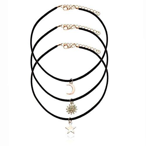 Bobury Collar colgante gargantilla de cuerda de terciopelo negro 3pcs / set para mujer con colgante estrella luna de sol