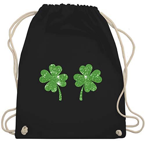 St. Patricks Day - Kleeblätter - Glitzereffekt - grün - Unisize - Schwarz - Irland - WM110 - Turnbeutel und Stoffbeutel aus Baumwolle