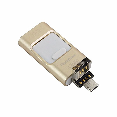 Chiavetta USB esterna, 3in 1OTG, chiavetta di memoria i-flash per iPhone 8/7/6/6S/5/iPad, cellulari Samsung  Gold 256 GB