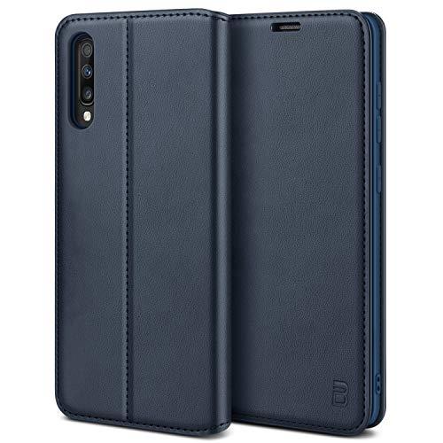 BEZ Hülle für Samsung Galaxy A70 Hülle, Premium Handyhülle Kompatibel für Samsung Galaxy A70, Tasche Hülle Schutzhüllen aus Klappetui mit Kreditkartenhaltern, Ständer, Magnetverschluss, Blaue Marine