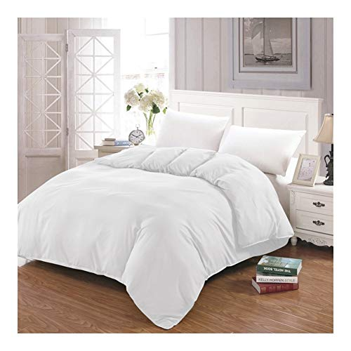Einfacher Bettbezug Weiß, Schwarz, Grau Tröster/Quilt/Decke Fall Twin Voll Königin König Doppel Bettwäsche 220x240 200x200 140 (Color : White, Size : 155x215)