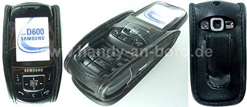caseroxx Handy-Tasche Ledertasche mit Gürtelclip für Samsung SGH-D600 aus Echtleder, Handyhülle für Gürtel (mit Sichtfenster aus schmutzabweisender Klarsichtfolie in schwarz)