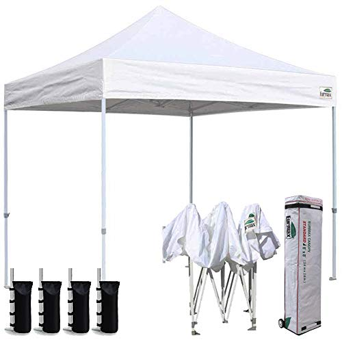 Eurmax 8x8 Feet Ez Pop up Canopy, Outdoor Canopies Instant Party Tent, Sport Gazebo with Roller Bag (White)