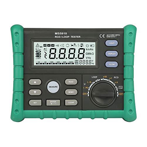 Misuratore di Resistenza, Akozon MS5910 Tester Digitale Professionale RCD Tester Interruttori di Tenuta Resistenza Loop Corrente Tensione Frequenza