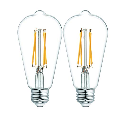 GE Vintage Clear Finish Glass 60W Replacement LED Light Bulbs, ST19, 2-Pack, Warm Candle, Dimmable Vintage Light Bulb, Medium Base