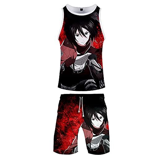 SLAYWZB Unisexo Anime Attack On Titan Aot Shingeki No Kyojin 2 Piezas Deportiva Tracksuit Camisetas Chaleco Sin Mangas T-Shirt y Shorts Chándal de Deportiva para Yoga Fitness