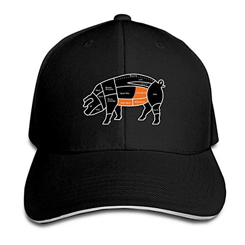 XCNGG ¿Qué Parte del Cerdo Viene con Tocino? Gorra Unisex con Hebilla mágica Ajustable Sombreros Tipo sándwich Deportes al Aire Libre Negro