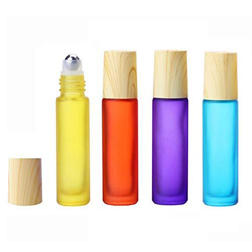 4PCS 10ml / 0.34oz verre givré Roll-on bouteille flacon support de pot de pot avec bouchon de grain en bois en acier inoxydable rouleau pour huile essentielle de couleur de parfum aléatoire