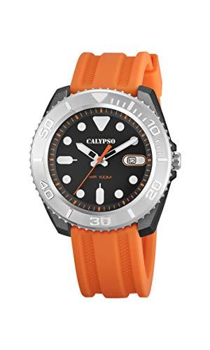 CALYPSO Reloj Modelo K5794/1 de la colección Street Style, Caja de 46 mm Negro con Correa de plástico Naranja para Caballero