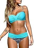 Astylish Women's Push Up Two Piece Bikini Swimsuits Padded Swimwear Bathing Suits Blue Medium Size 8 10